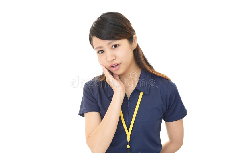 Woman who is worried. Woman looking thoughtful about troubles royalty free stock photography
