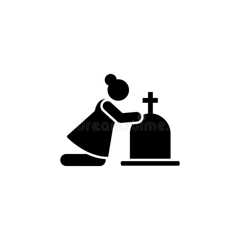Woman widow funeral weep icon. Element of pictogram death illustration.  royalty free illustration