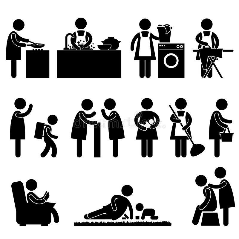 Woman Wife Mother Daily Routine. A set of pictogram about a woman daily activity vector illustration