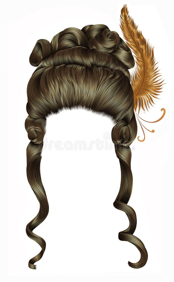 Woman wig hairs curls. medieval style rococo,baroque high hairdress with feather. royalty free stock photo