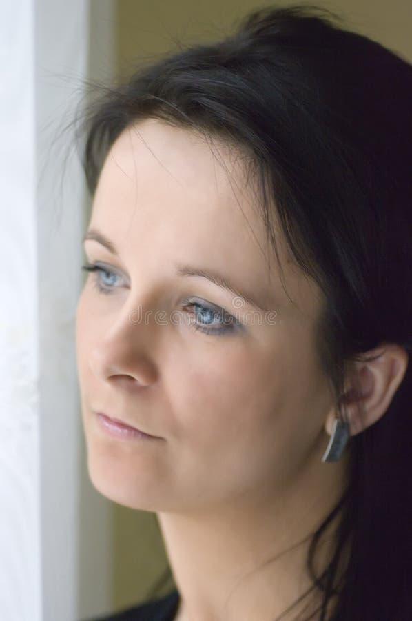 Download Woman at window stock image. Image of melancholic, soft - 4740255