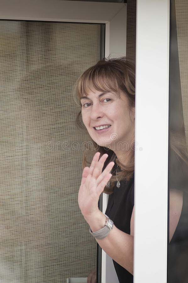 Download Woman in a window stock image. Image of smile, expression - 39502219