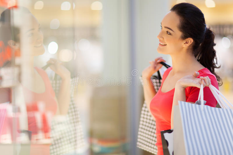 Woman window shopping stock photography