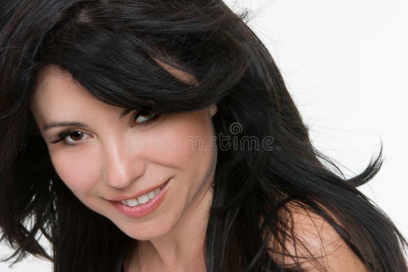 Woman windswept hair stock photo