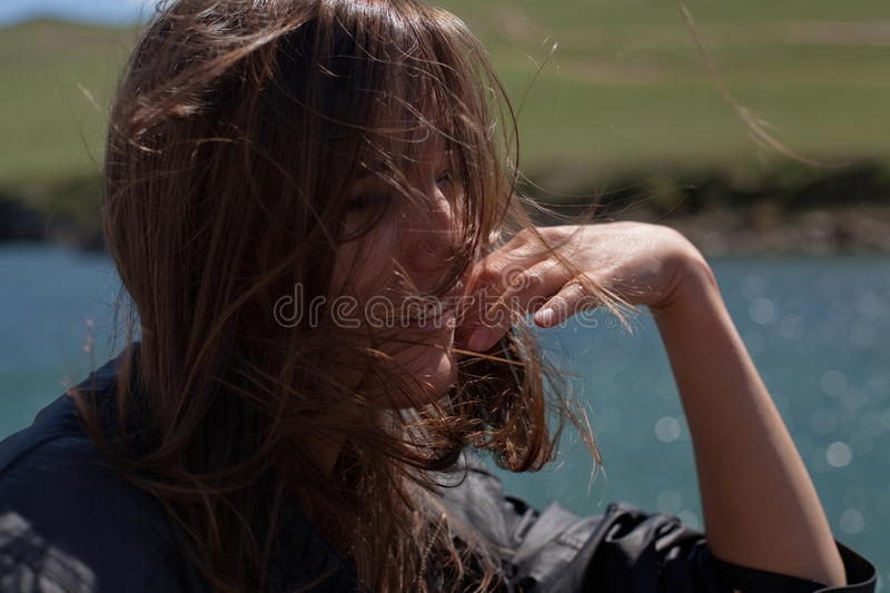 Woman with windswept hair