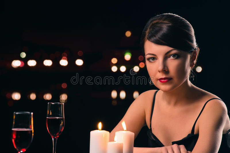 Download Woman and wine stock image. Image of light, glamour, alone - 25340669