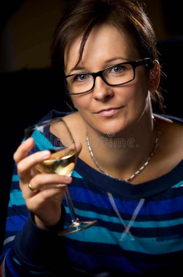 Download Woman with wine glass stock image. Image of relaxing - 26859911