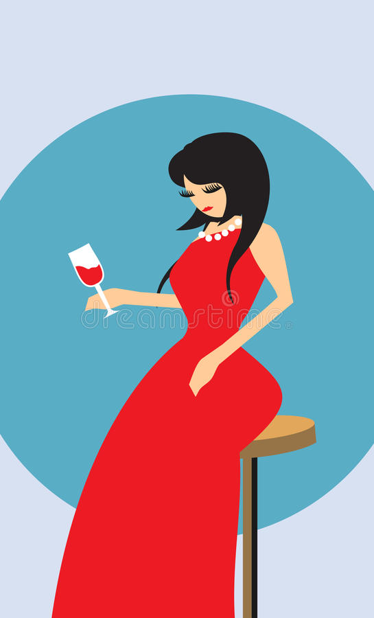 Woman and wine stock images
