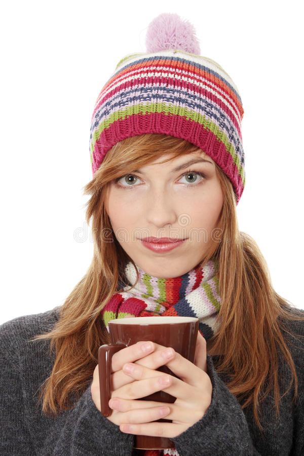 Download Woman With Winter Cap Drinking Something Hot Stock Photo - Image: 16963442