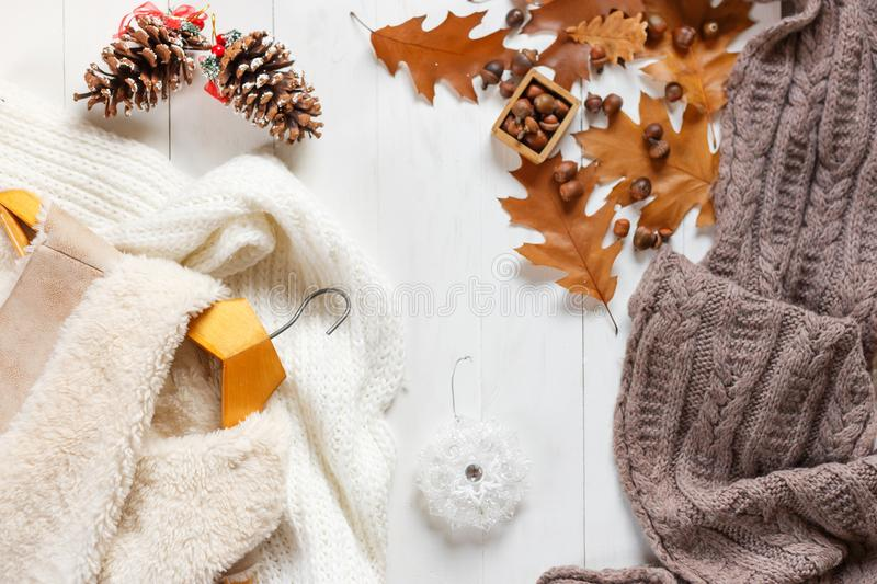 Woman winter clothes collage on white, flat lay, top view stock photography