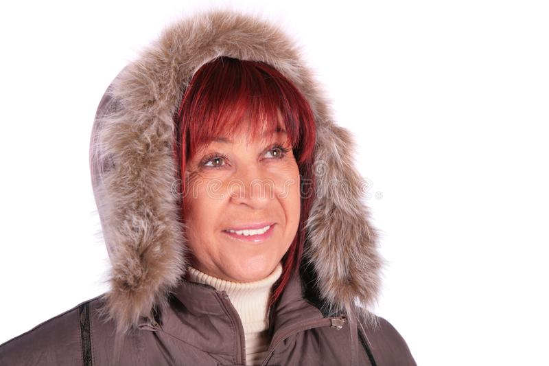 Woman in winter coat stock images