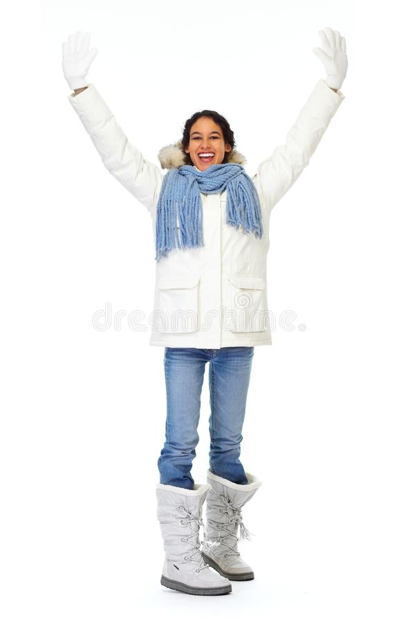 Woman in winter coat. Isolated on white background stock photography