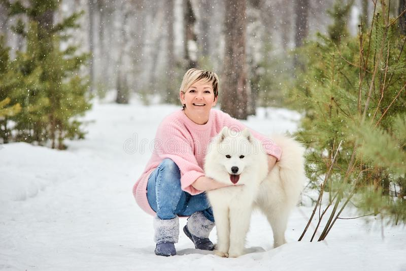 Woman in the winter forest walking with a dog. Snow is falling royalty free stock photography
