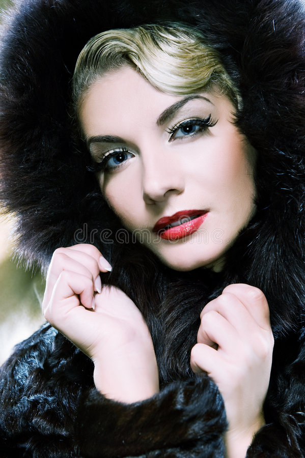 Download Woman in winter fur coat stock image. Image of looking - 7690339