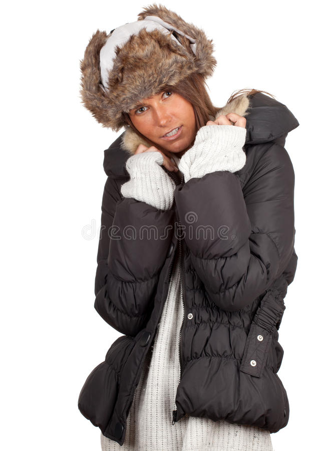 Download Woman In Winter Hat And Black Coat Stock Photography - Image: 18607592