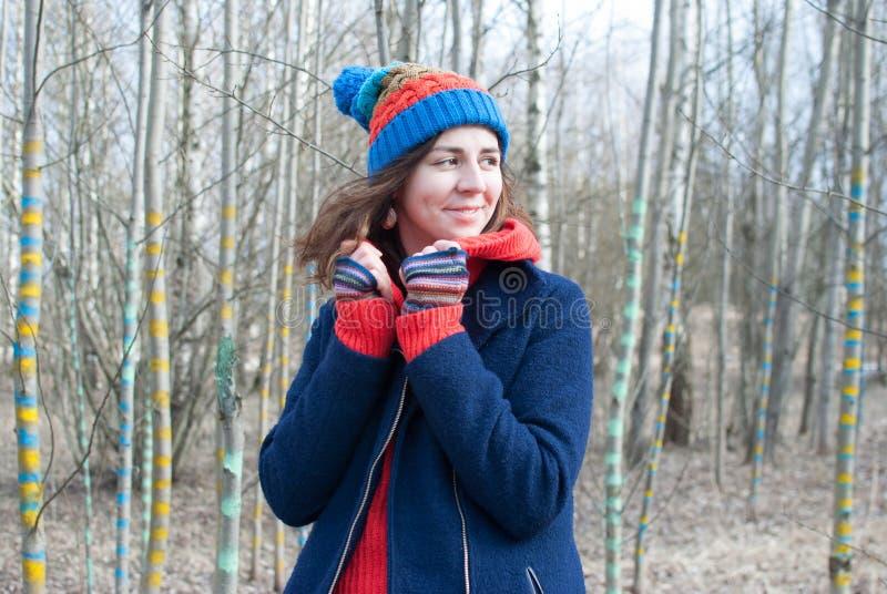 Woman winter hat stock photo