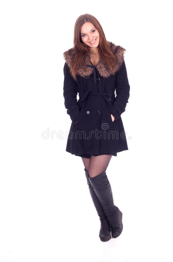 Woman In Winter Jacket With Fur Royalty Free Stock Photo