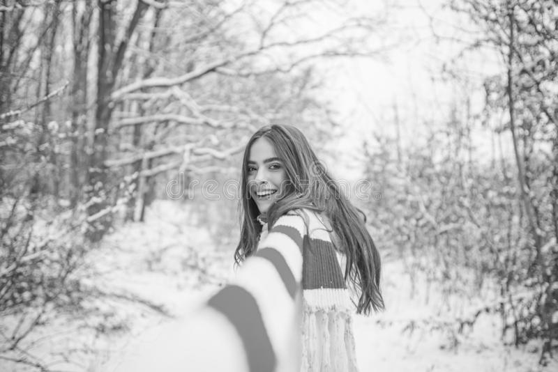 Woman winter portrait. women on mountain. Girl playing with snow in park. royalty free stock photo