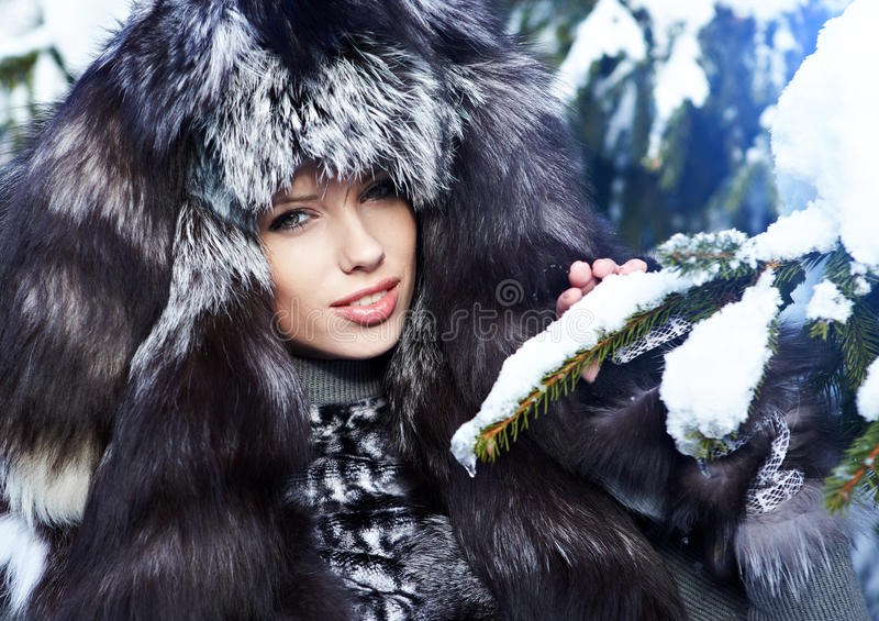 Download Woman In The Winter Scenery Stock Image - Image: 22625235