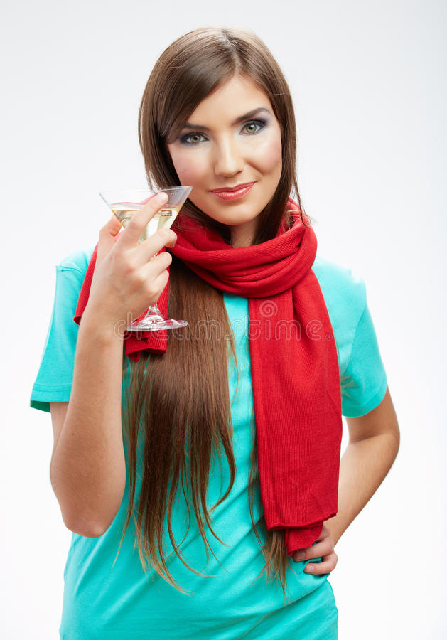 Woman Winter Style Clothes Portrait. Smiling Model With Alcohol Royalty Free Stock Photo