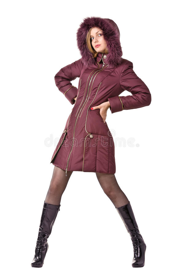 Woman In Winter Violet Hooded Jacket Royalty Free Stock Image
