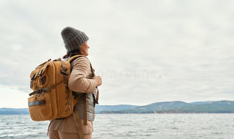 Woman on a winter walk royalty free stock photo