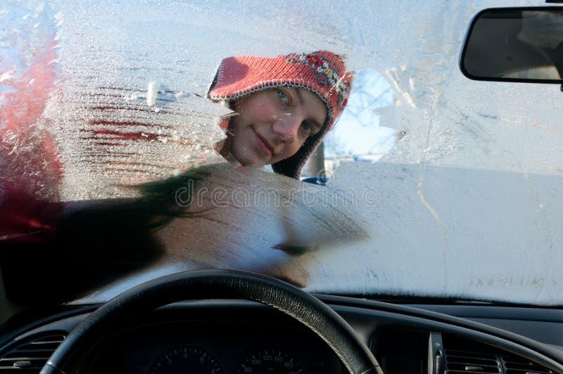 Woman Winter Windshield Stock Image