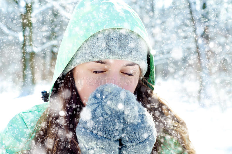 Woman in winter royalty free stock image