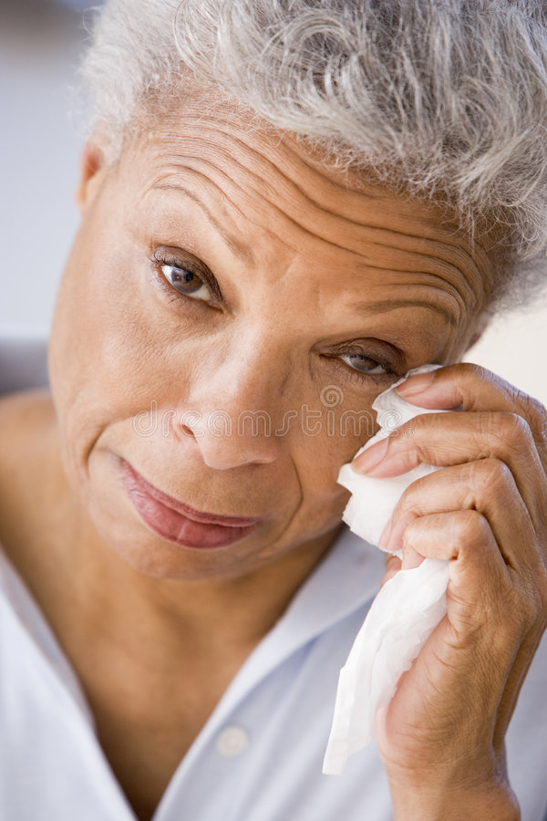 Woman Wiping Away Tears Royalty Free Stock Photos