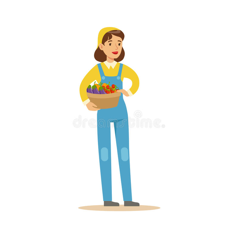 Woman Wirh Basket Of Fresh Vegetables, Farmer Working At The Farm And Selling On Natural Organic Product Market stock illustration