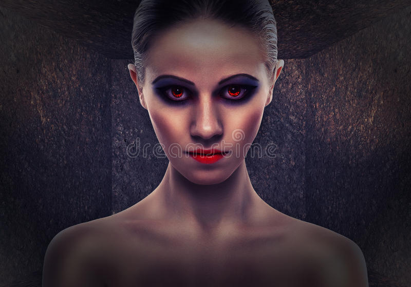 Woman A Witch, Evil. Halloween Stock Photo