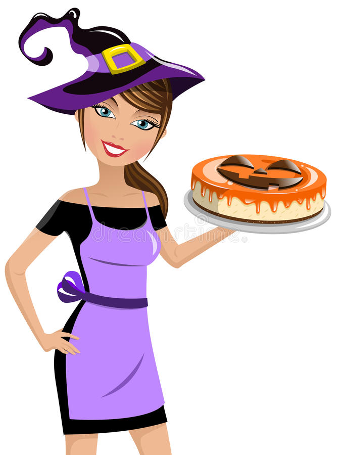 Woman witch hat halloween cheesecake isolated. Beautiful woman wearing witch hat and holding halloween cheesecake isolated royalty free illustration