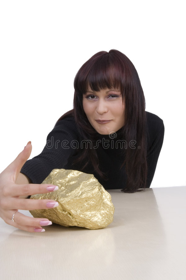 Free Woman With A Gold Nugget Royalty Free Stock Image - 5030906