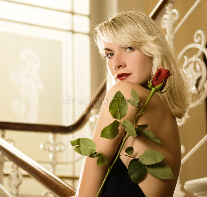 Free Woman With A Red Rose Royalty Free Stock Photo - 6790795