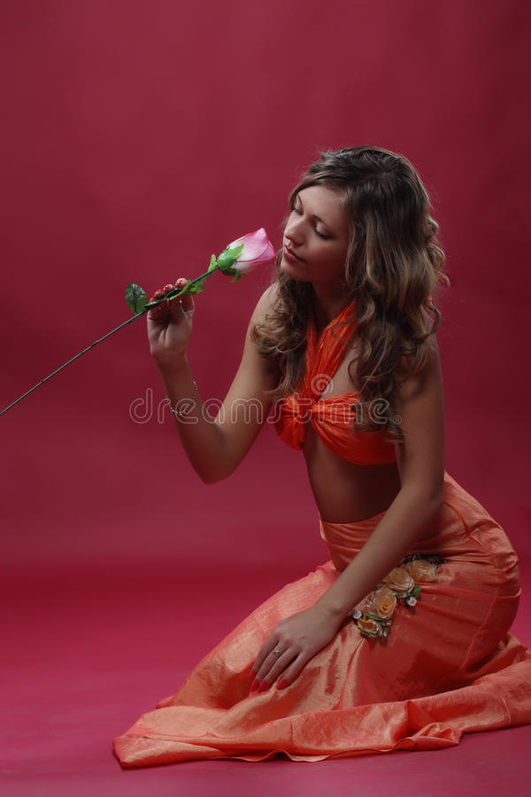 Free Woman With A Rose Royalty Free Stock Photo - 18406435