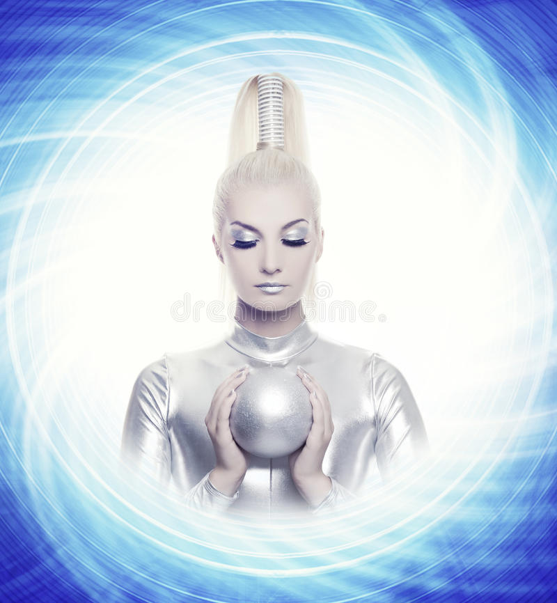 Free Woman With A Silver Ball Royalty Free Stock Photography - 10974197