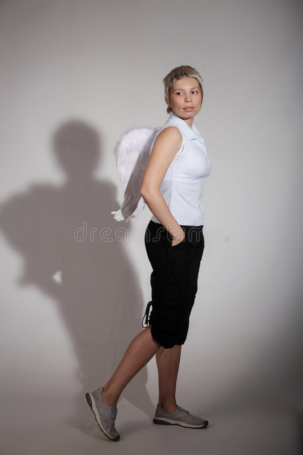 Free Woman With Angel Wings Stock Photography - 5297502