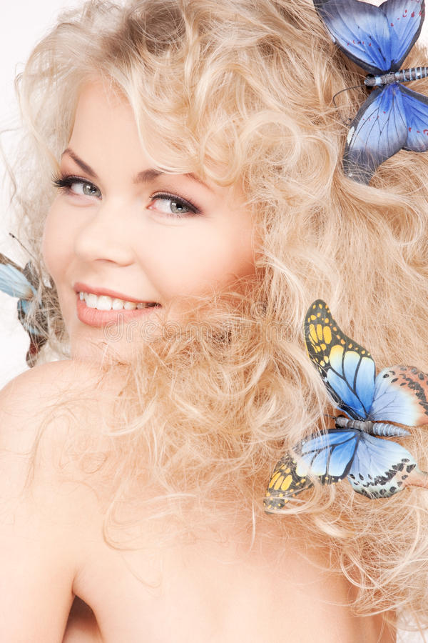 Free Woman With Butterflies In Hair Royalty Free Stock Photos - 12855968