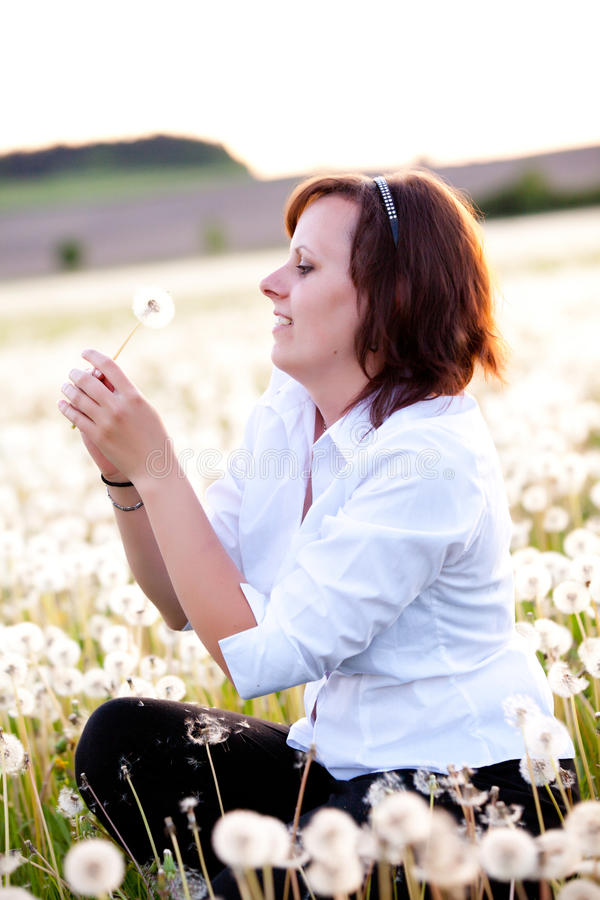 Free Woman With Dandelion Royalty Free Stock Photo - 24835625