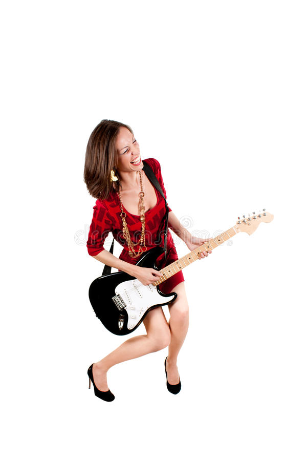 Free Woman With Electric Guitar Royalty Free Stock Photography - 20668837