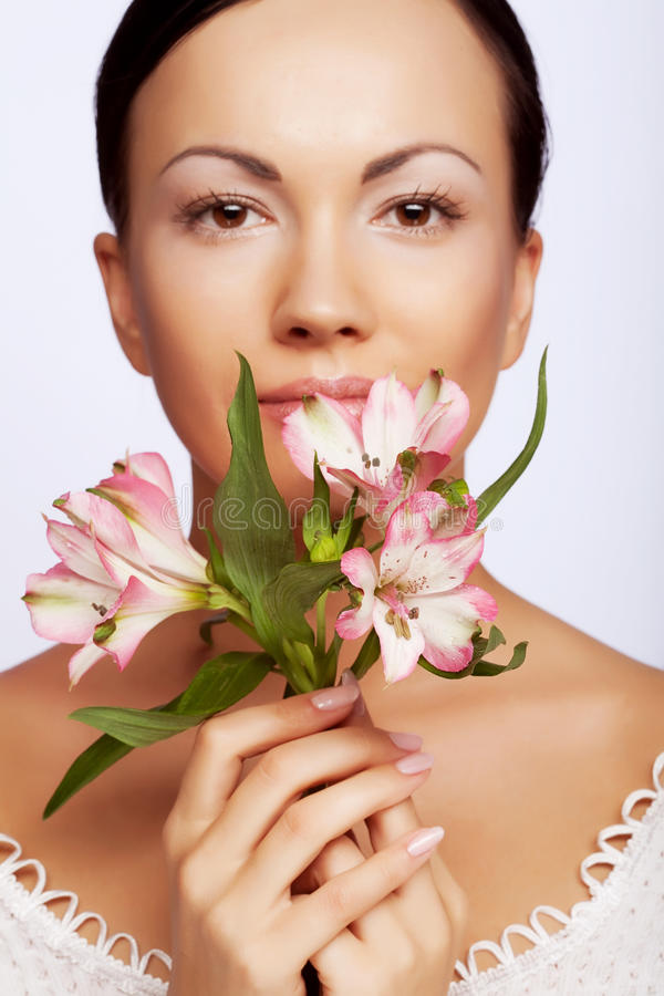 Free Woman With Flowers Isolated On White Stock Images - 10808014