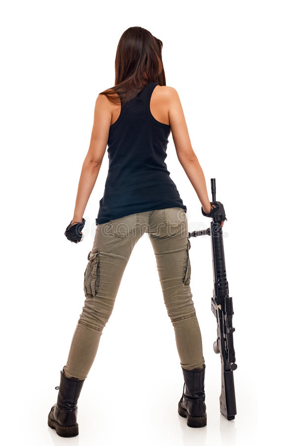 Free Woman With Guns Stock Photo - 49340340