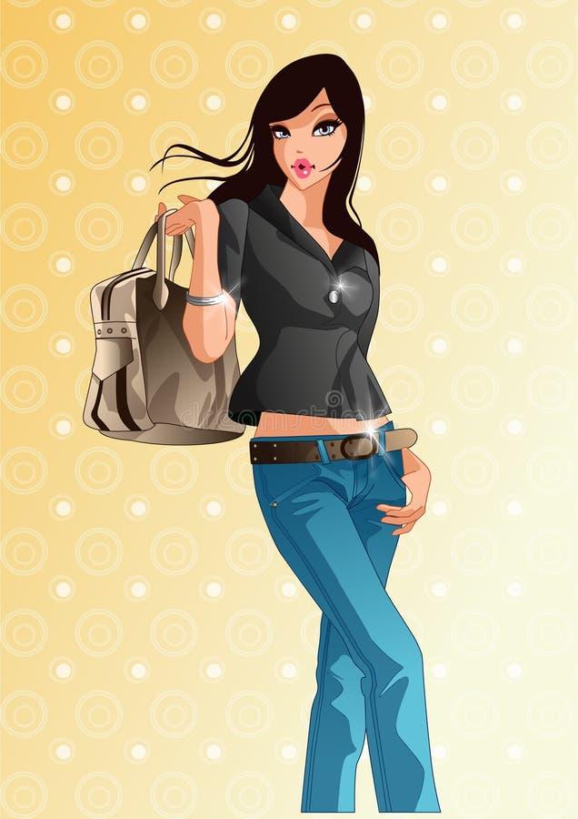 Free Woman With Handbag. Vector Illustration Decorative Design Royalty Free Stock Images - 186201759