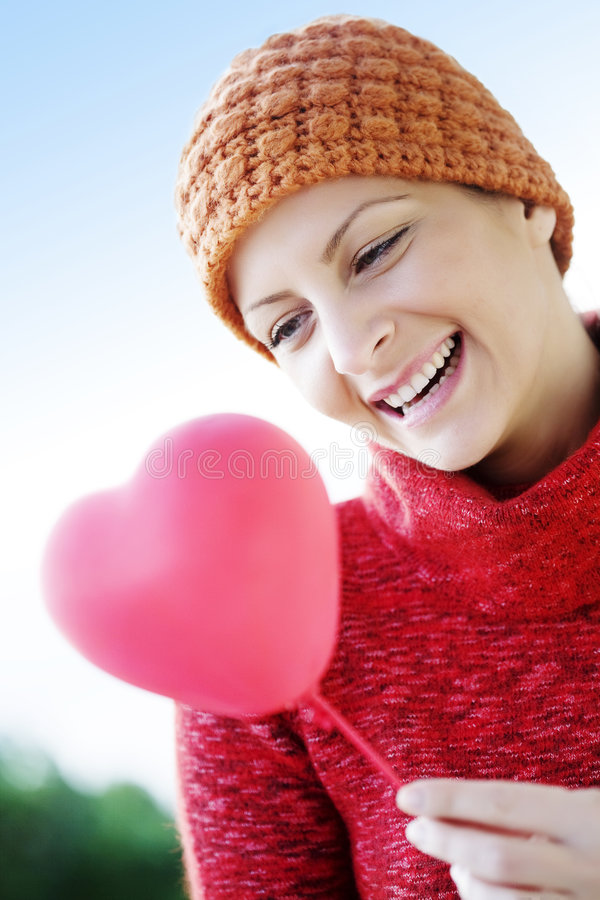 Free Woman With Heart Balloon Royalty Free Stock Photos - 4133788