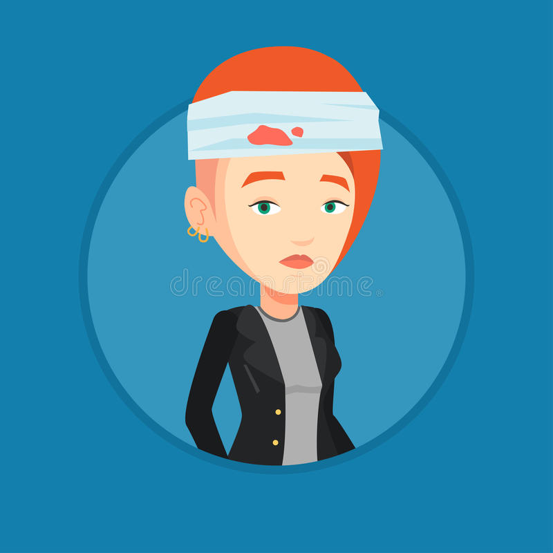 Free Woman With Injured Head Vector Illustration. Royalty Free Stock Image - 86348896