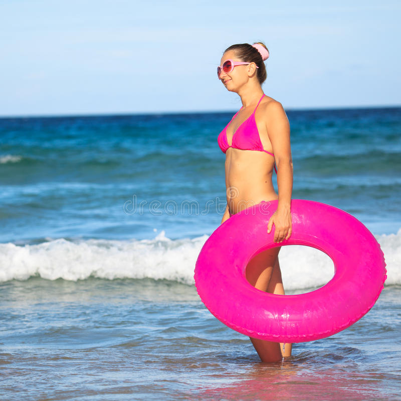Free Woman With Inner Tube Royalty Free Stock Images - 14855029