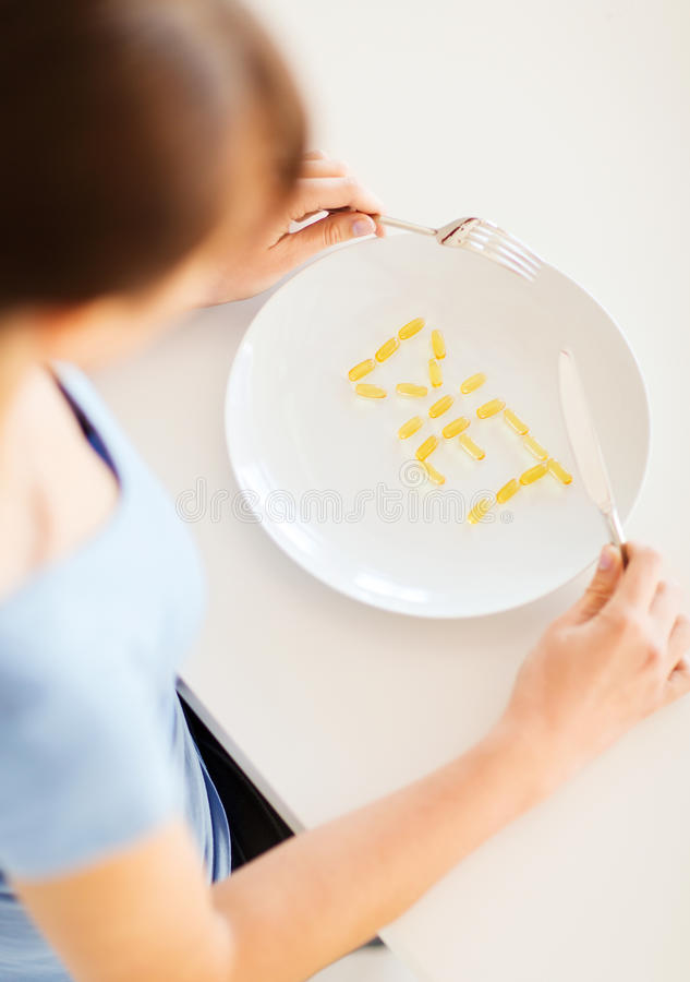 Free Woman With Plate And Meds Royalty Free Stock Photo - 33875885
