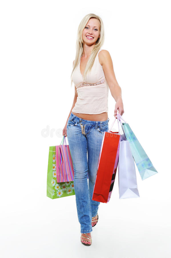 Free Woman With Purchases Walking After Shopping Royalty Free Stock Photography - 11046927