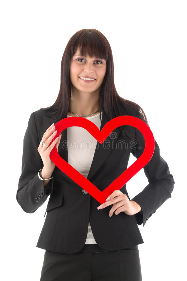 Free Woman With Red Heart Stock Images - 18606714
