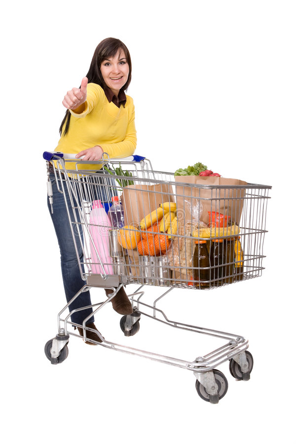 Free Woman With Shopping Cart Royalty Free Stock Images - 9093029